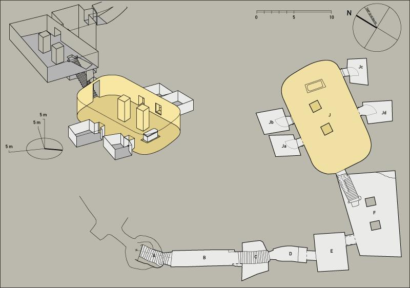 Plan and axonometric of Thutmes III's tomb.