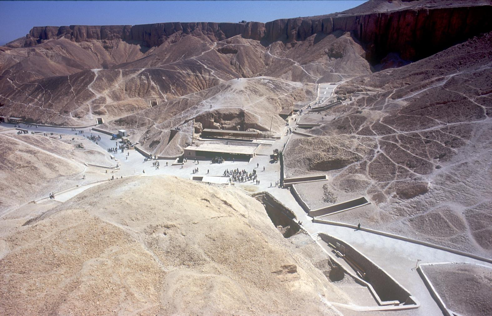 Tomb entrances and tourist shelter in the central part of the Valley of the Kings.