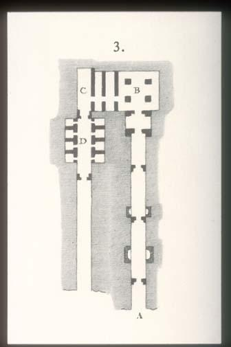 Tomb plans up until corridor C (KV 11) and pillared chamber F (KV 10), with orientation of the tombs reversed from actual relationship.