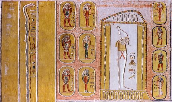 Book of Caverns, fourth division, beginning: guardian serpent; third division, scene 5: Osiris in shrine, surrounded by deities in caverns.