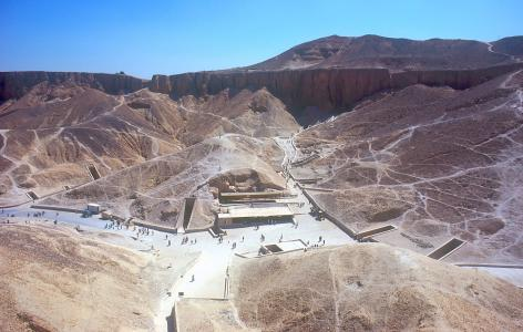 Valley of the Kings, cliff above KV 8, looking east; entrances to KV 03, KV 46, KV 04, KV 05, KV 06, KV 55, KV 62, KV 19, KV 18, KV 17, KV 16, KV 10, KV 11 and tourist shelter.