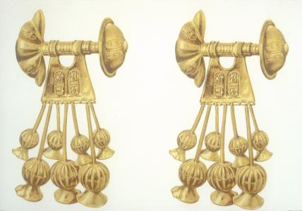 Gold earrings with cartouches of Sety II.