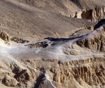 "Aerial view of the ""Village de Repos"" used by the workmen of the Valley of the Kings."