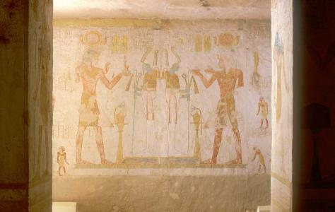Double scene of Sety II offering to Osiris. Rear wall, center section.