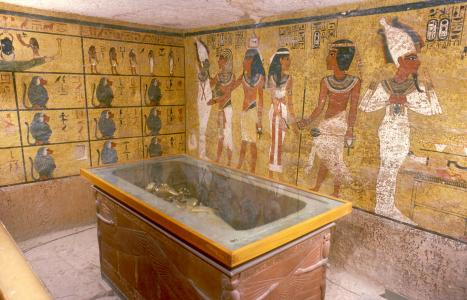 Imydwat, first hour: detail; Osiris, Tutankhamen and his ka; Nut greeting Tutankhamen; Tutankhamen as Osiris from Opening of the Mouth ritual; outer coffin in quartzite sarcophagus.