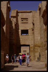 Madinat Habu, Rameses III Memorial temple, East High Gate, east face, looking west (with tourists).