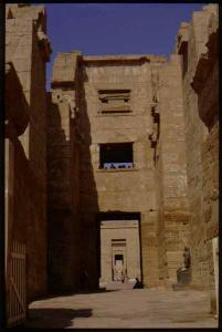 Madinat Habu, Rameses III Memorial temple, East High Gate looking west (without tourists)