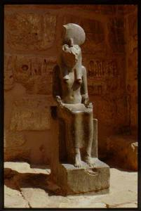 Madinat Habu, Rameses III Memorial temple, East High Gate, south side, Sakhmet statue.