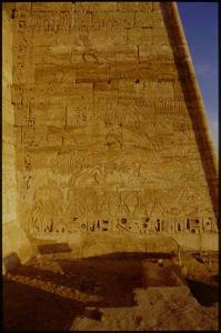 Madinat Habu, Rameses III Memorial temple, first pylon, south wing west face, King hunting desert game and bulls in the marsh