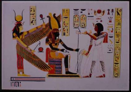 A watercolor by Hay from the tomb of Rameses III. North wall. King offering to Ptah-Sokar and Isis.