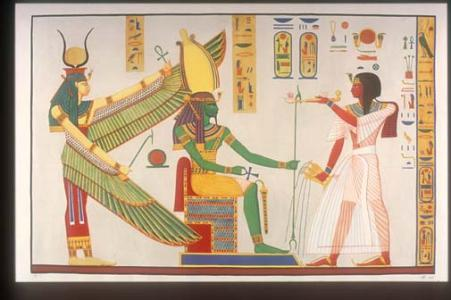 Rameses III censing and libating before Ptah-Sokar-Osiris, protected by winged Isis.