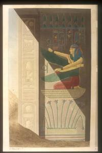 Names of Rameses III; winged Ma'at kneeling over lilies of Upper Egypt.
